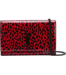 red and black leopard print kate chain wallet