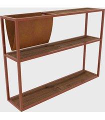 mesa lateral c/ revisteiro vermont/est. cobre artesano