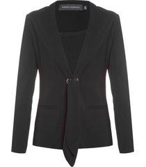 blazer feminino sem gola com ilhós - preto