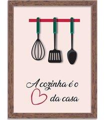 quadro decorativo a cozinha é o coração da casa madeira - médio