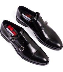 zapato formal en cuero negro hebillas overstate fo-6778-4537ov