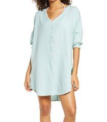 chelsea28 oversize linen blend cover-up shirt, size large in teal tide at nordstrom