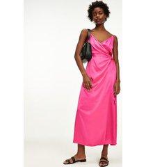 tommy hilfiger women's wrap maxi dress hot magenta - 14