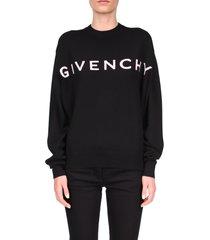 women's givenchy logo jacquard cashmere sweater, size large - black