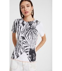 ribbed zebra print t-shirt - white - xl