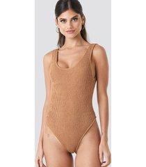 na-kd swimwear smocked high cut swimsuit - brown