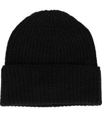 agnona black cashmere beanie hat