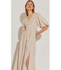 river island womens beige short puff sleeve stripe maxi dress