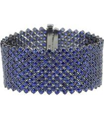 bayco 18kt black gold wide sapphire bracelet - blue