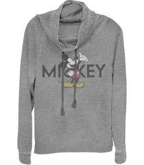 fifth sun juniors disney mickey classic vintage-like mickey fleece cowl neck sweatshirt