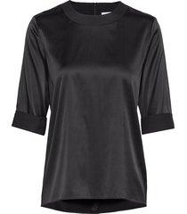 silk tee-shirt blus långärmad svart cathrine hammel