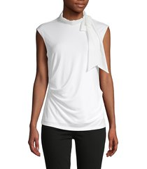 calvin klein women's self-tie mockneck top - soft white - size s