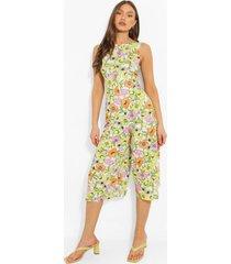 bloemenprint culotte jumpsuit met laag uitgesneden rug, white