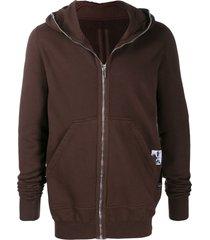 rick owens drkshdw longline zip front hoodie - brown