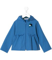 familiar ruffled detailing zip-up hoodie - blue