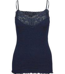organic strap top regular w/lace t-shirts & tops sleeveless blå rosemunde