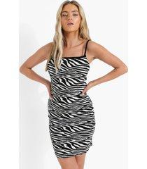 gebreide zebraprint jurk, black
