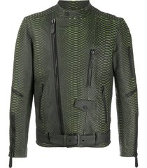 philipp plein belted biker jacket - black