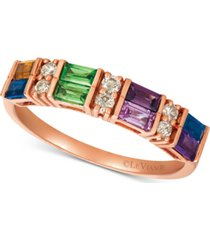 le vian baguette multi-gemstone (3/4 ct. t.w.) & nude diamond (1/6 ct. t.w.) ring in 14k rose gold