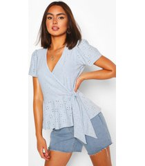 broderie anglaise wrap top, blue
