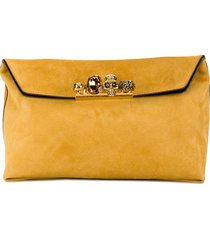 alexander mcqueen four-ring suede clutch bag - yellow