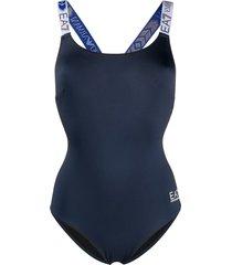 ea7 emporio armani logo strap one-piece swimsuit - black