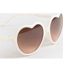 kaytie heart frame sunglasses in ivory - ivory