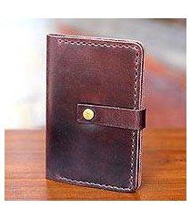 leather passport wallet, 'jakarta oak' (indonesia)