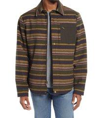 men's pendleton conway stripe waterproof wool blend shirt jacket, size xx-large - brown