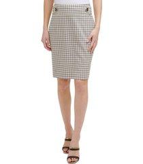 dkny high-waisted printed pencil skirt