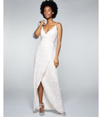 betsey johnson sequined tulip-hem gown