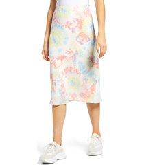 women's socialite print bias cut skirt, size small - purple