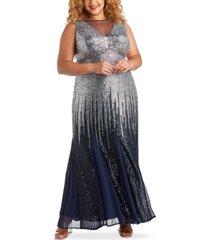 r & m richards plus size sequin ombre gown