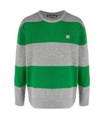 acne studios suéter decote careca com listras - cinza