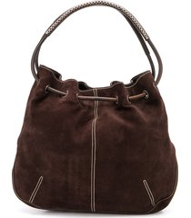 salvatore ferragamo pre-owned 1990s drawstring shoulder bag - brown