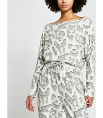river island womens cream leopard print pyjama top