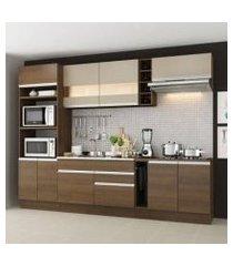 cozinha completa madesa vicenza com armário e balcão rustic/bronze rustic/bronze