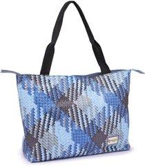 bolsa gouveia costa com zíper alça dupla de mão e ombro prática casual azul