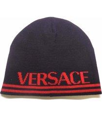 brand new men's versace black/red wool winter beanie hat cap
