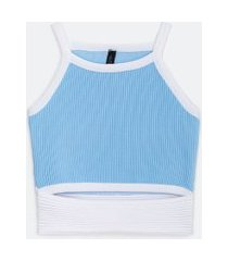 blusa regata em tricô com abertura frontal | blue steel | azul | gg