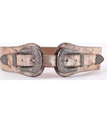 cinturon elastico doble hebilla oro mailea