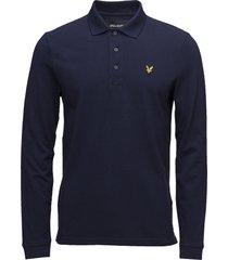 ls polo shirt polos long-sleeved blå lyle & scott