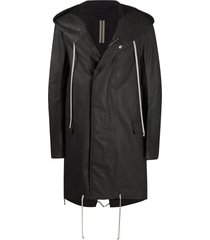 rick owens drkshdw coated rain coat - black