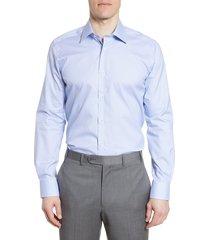 men's big & tall david donahue trim fit geometric dress shirt, size 16.5 - 36/37 - blue