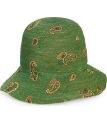 etro st. tropez paisley raffia hat, size 57 eu in verde at nordstrom
