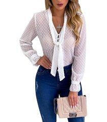 blusa de mangas de hojaldre de lunares semi transparentes blanca