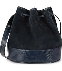 hunting season women's large suede & leather drawstring bag - navy