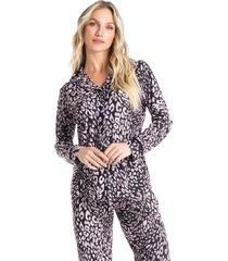 pijama longo abotoado animal print marisa
