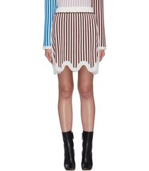 terry stripe curvy hem merino wool mini skirt
