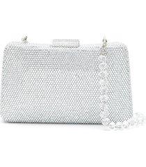 serpui crystal-stud embellished clutch bag - silver